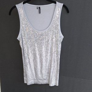 MAURICES Silver Sequin Tank Top Large Wild Bling
